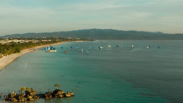 Thumbnail for Tropical Beach and Sailing Boats, Boracay, Philippines