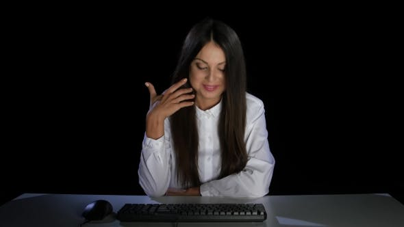 Thumbnail for Girl Shyly Looking at the Monitor Computer