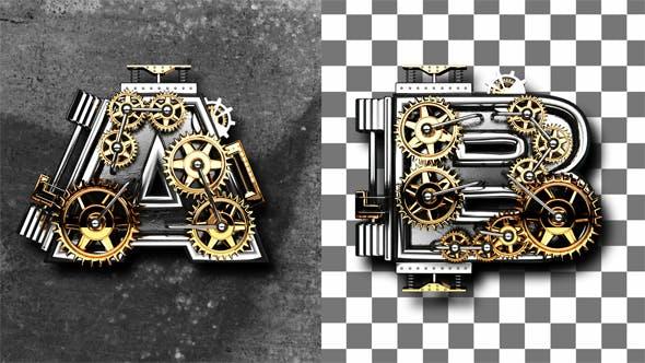 Thumbnail for Metallbuchstaben mit Zahnrädern Mechaniker