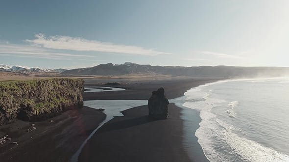 Thumbnail for Reynisfjara Black Sand Beach With Rocks