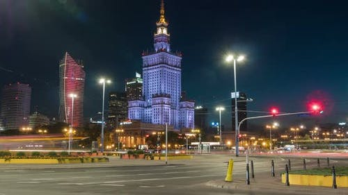Night timelapse next to Palace of Culture and Science