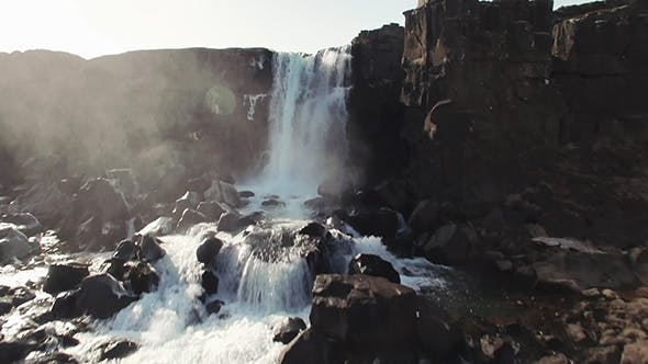 Thumbnail for Thingvellir Waterfall Iceland. Autumn Landscape