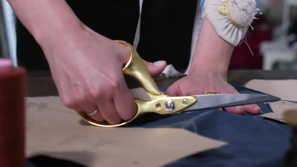 Thumbnail for Hands of Seamstress Cutting Pattern with Scissors