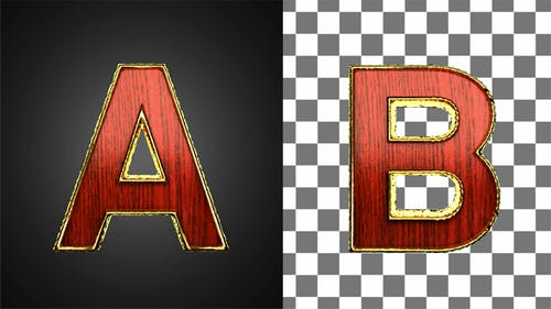 Loop Golden Letters with Red Wood