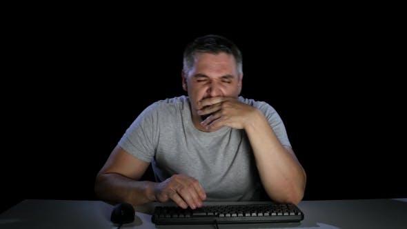 Thumbnail for Man Tired Effort on Keyboard Keys. Emotions. Studio