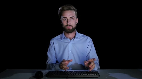 Thumbnail for Man Feels the Emotions of Bewilderment Communicating on the Internet