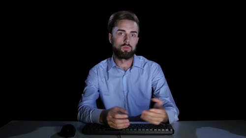 Man Feels the Emotions of Confusion Communicating on the Internet