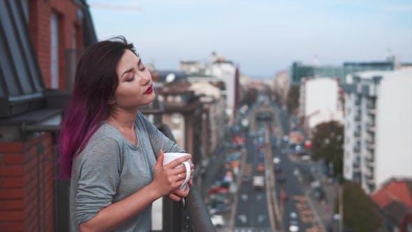 Thumbnail for Beautiful City Woman Enjoying Coffee