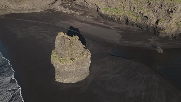 Rock On The Reynisfjara Black Sand Beach