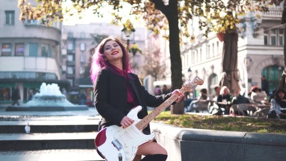 Thumbnail for Fashionable Beautiful Girl with Electric Guitar