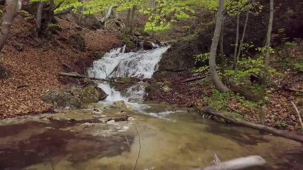 Thumbnail for Mountains Stream Waterfall in Fresh Spring Forest Nature