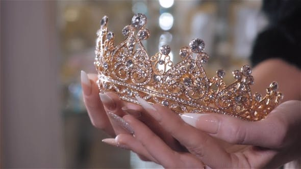 Thumbnail for Woman Chooses Bridal Accessories in Wedding Boutique and Wear Crown with Diamonds