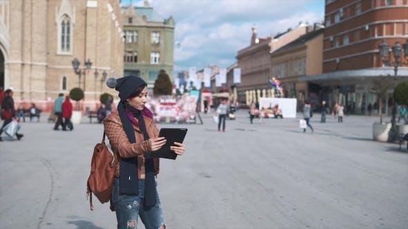 Thumbnail for Woman Tourist Taking Selfie Tablet Pc