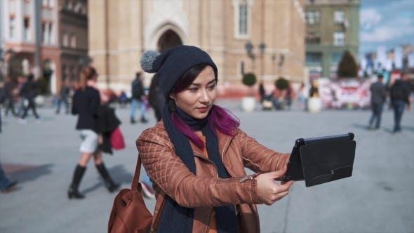 Thumbnail for Girl Tourist Taking Selfie Tablet Pc