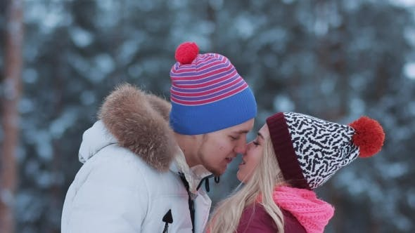 Thumbnail for Happy Winter Travel Couple Kissing