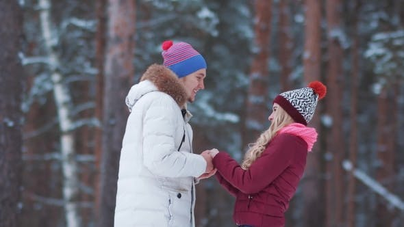 Thumbnail for Happy Winter Travel Couple Hugging and Kissing