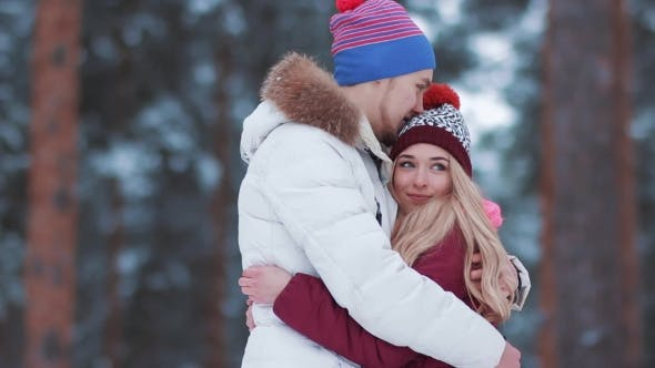 Thumbnail for Happy Winter Travel Couple in Love Outside