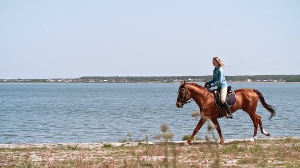 Thumbnail for Young Woman Riding Horse near Lake