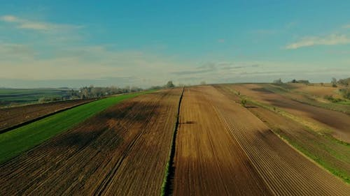 A flight over cultivated fields in the light of the autumn sun.