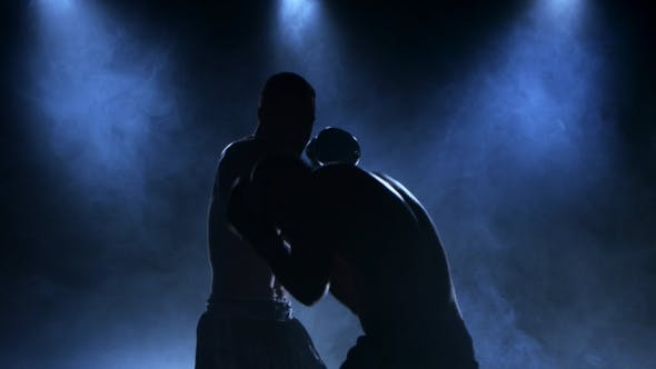 Thumbnail for Sparring of Two Boxers in the Studio. Silhouette, Smoke