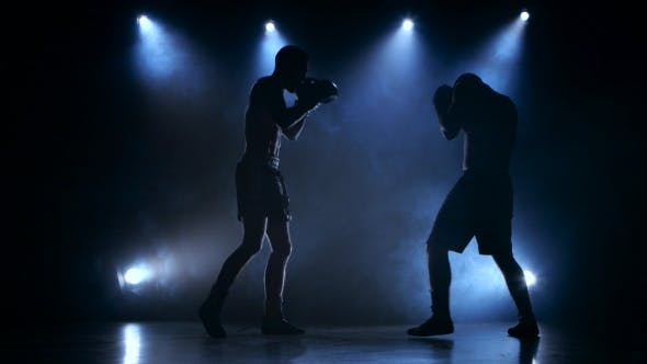 Thumbnail for Two Young Sportsman Are Boxing in the Studio