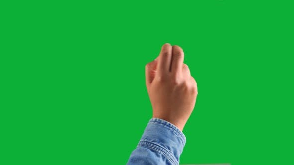 Thumbnail for Mixed Race Deep Skin Tone Male Hand Makes a Swipe To the Right with Two Fingers Gesture on Chromakey