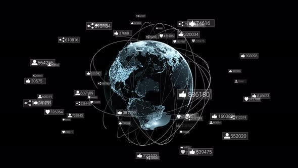 Thumbnail for Global communication network around planet earth. Social network symbols