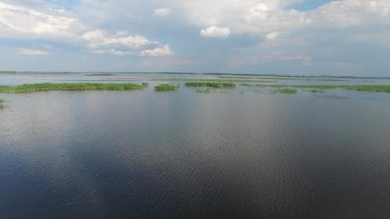 Thumbnail for Spill Wide River with Islands of Reeds and Wild Ducks