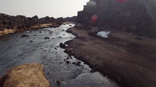 Thumbnail for Canyon Crack With A River In Iceland