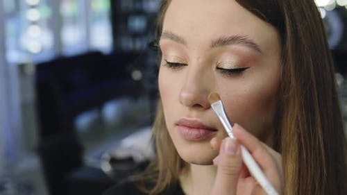 Closeup of Perfect Nude Makeup Process for Young Female Model