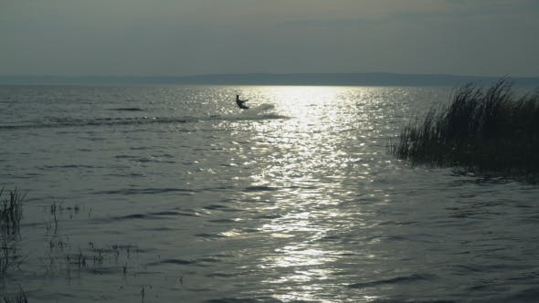 Thumbnail for Kitesurfer on the Lake in Autumn Enjoy Extreme Sport