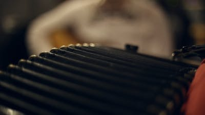 Musician Plays the Accordion