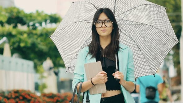Thumbnail for Beautiful Asian Young Woman with Tablet in City Street
