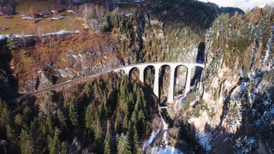 Cover Image for Beautiful Viaduct in Switzerland, Aerial View