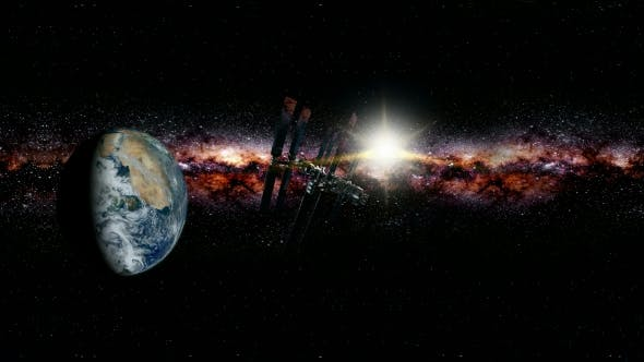 Thumbnail for International Space Station Orbiting Earth in Virtual Reality 360 Degree