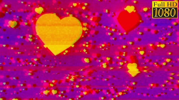 Thumbnail for Hearts Bokeh Particles Background Vj Loops V2