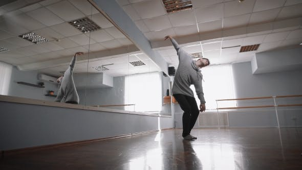 Thumbnail for The Professional Dancer Rehearses at a Mirror. He Does the Smooth and Exact Movements. Thus the