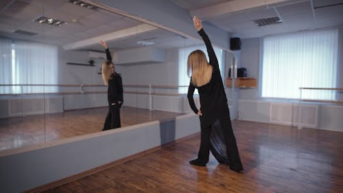 In His Spare Time Woman Rehearses in the Studio. Dance Is Her Hobby. She Trains at the Mirror
