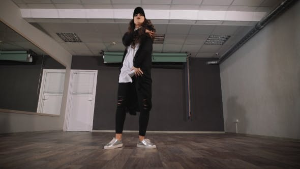 Thumbnail for Young Girl Dancing Modern Dance in Black Clothes