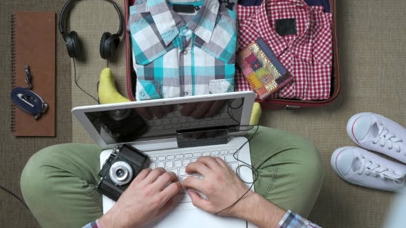 Thumbnail for Hipster Traveler Packing a Suitcase