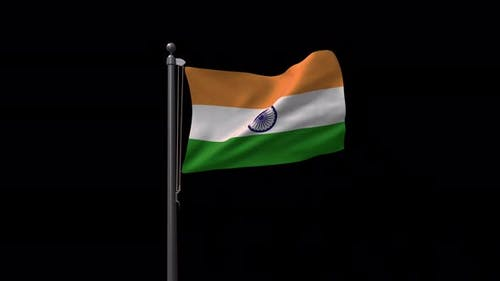 India Flag On Flagpole With Alpha Channel  4K