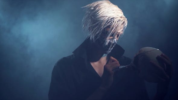 Thumbnail for Evil Man with Halloween Makeup Smoking