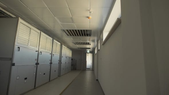 Thumbnail for Camera Moves Along the Corridor Where There Are Large Wardrobes in Which Industrial Air Filters