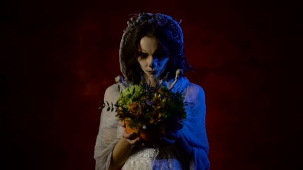 Thumbnail for Ghost of a Young Bride Is Standing with Bunch of Flowers in Her Hands. Mystical Woman with Art