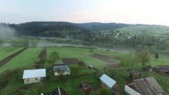 Thumbnail for Picturesque Location on the River Near the Hill. Aerial View