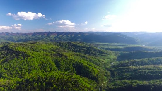 Thumbnail for Panoramic Shooting Around Hilly Terrain. Aerial View