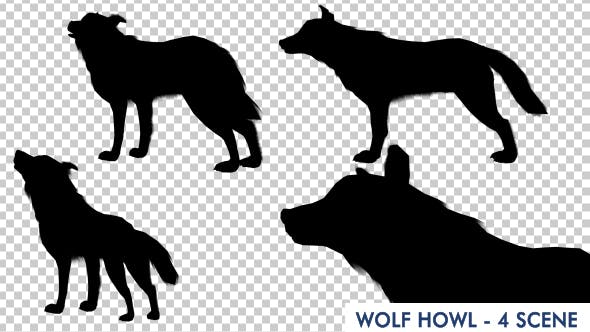 Thumbnail for Wolf Howling Silhouette Animation - 4 Scene