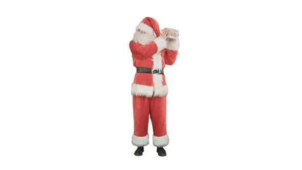 Thumbnail for Happy Santa Claus Carrying Gifts on White Background
