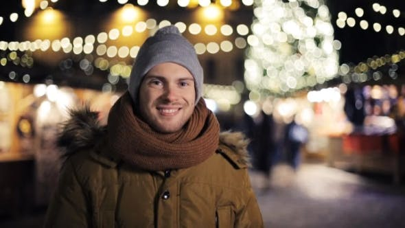 Thumbnail for Happy Man in Winter Clothes Warming on Christmas