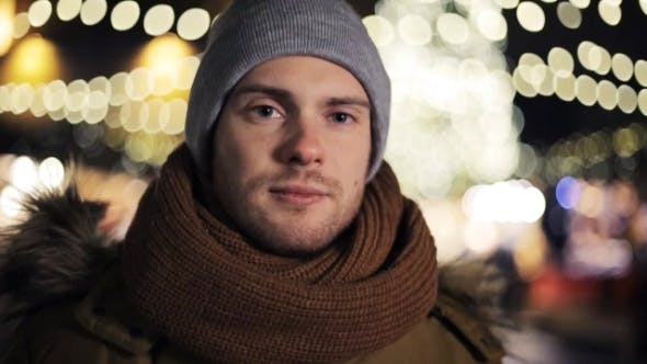 Thumbnail for Happy Man in Hat and Winter Jacket on Christmas